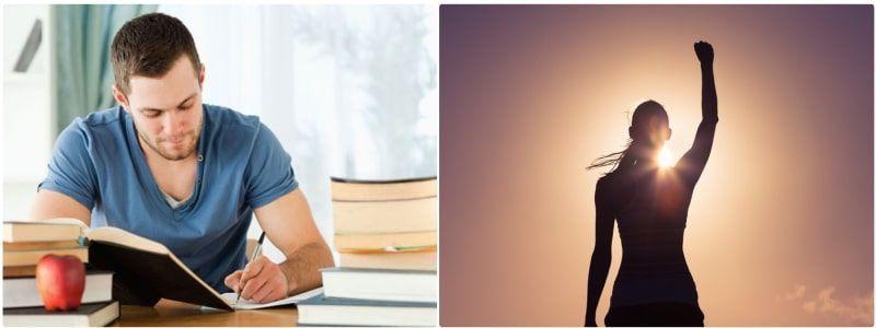 Hombre comprometido con mejorar su vida está estudiando para obtener nuevos resultados
