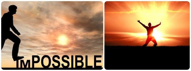 Hombre pisando en las letras I y M de imposible y otro con gesto de triunfo delante del sol
