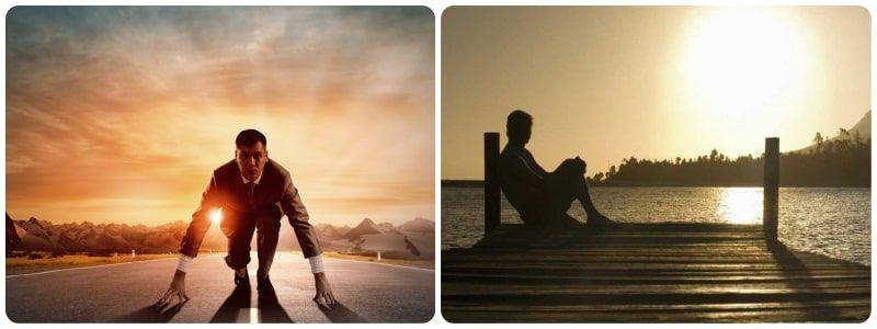 Hombre preparado para correr y otro sentado delante del mar como simil del éxito personal