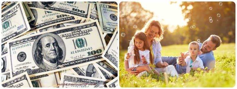 imagen de dinero de y una familia feliz
