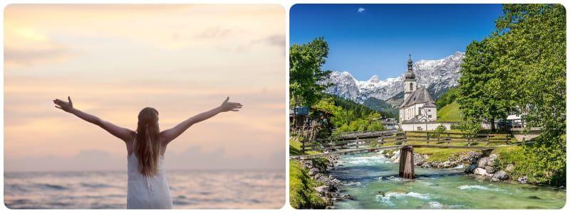 mujer cno los brazos abiertos en señal de éxito sobre la vida y paisaje con rio y montañas