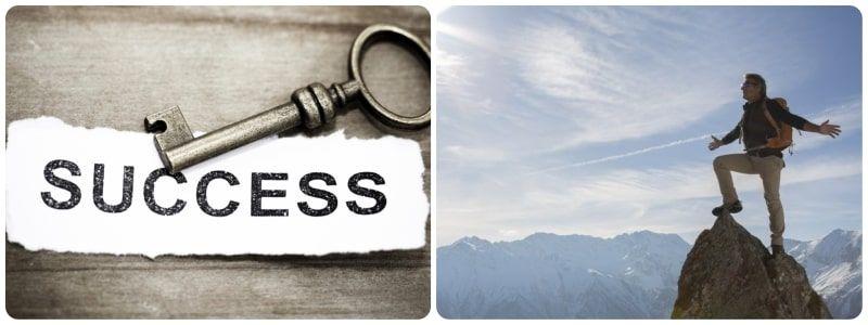 llave del exito y persona en la cima de montaña