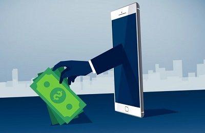 Teléfono quitando dinero a alguien para representar los timos que hay en internet con el dinero