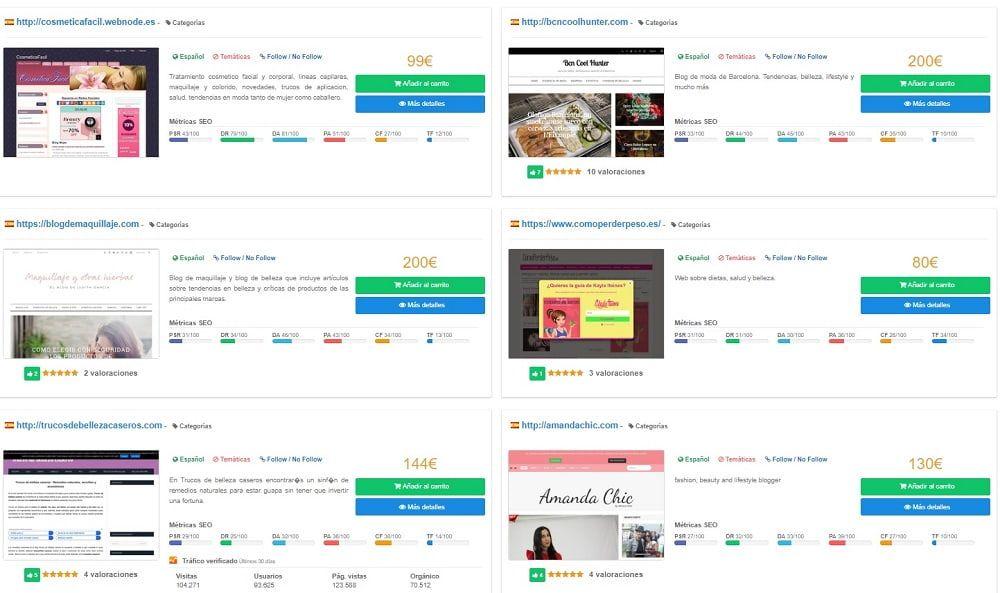 pantalla con las cantidades que se pagan por una reseña en un blog