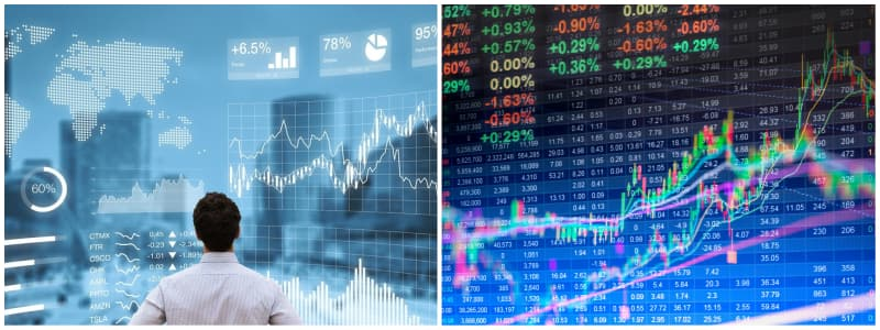 Dos fotos de graficos de la bolsa de valores con la que se puede hacer dinero en la red